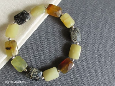 Black Yellow & Tan Flake Jade Oblong Beads & Sterling Silver Designer Bracelet